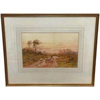 "Watercolour ""Returning Home"" Shepherd Droving Flock Sheep by George Barker"