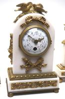 Incredible French White Marble Mantel Clock French 8-day Timepiece Garniture Clock Set (4 of 13)