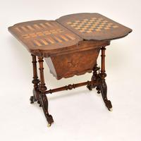 Antique Victorian Burr Walnut Games & Work Table (2 of 14)