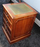 1960's Yew Wood Filing Cabinet with Green Leather Top (2 of 4)