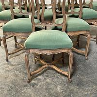 Set of 10 French Bleached Oak Farmhouse Dining Chairs (12 of 16)