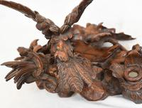 Black Forest Inkwell Hand Carved German Cuckoo Bird Sculpture 1860 (5 of 9)