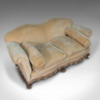 Antique 2 Seat Sofa, French, Textile, Beech, Settee, C.1900 (7 of 12)