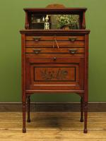 Antique Aesthetic Movement Music Cabinet with fall front & hand painted design (9 of 14)