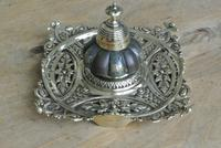 Fine English Victorian Brass Inkwell with Japanese Shakudo Inspired Pottery Ink Pot Reg Diamond for 1883 (2 of 10)