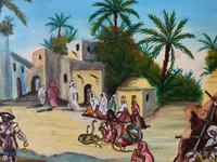 The Snake Charmer - Moroccan School - Vintage - 1960s - Original Oil Painting (4 of 11)