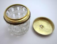 Antique Victorian 1863 Solid Sterling Silver Gilt Lidded Top & Cut Glass Vanity Trinket Dressing Table Box Jar Pot Bottle Container (6 of 8)