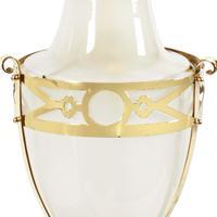 Edwardian Brass & Opaque Glass Hall Lantern (3 of 7)