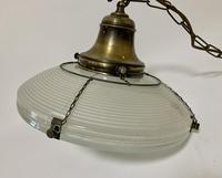 Original Holophane Flying Saucer Glass Pendant Light (9 of 11)