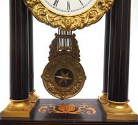 Antique Satinwood Inlaid Mantel Clock Rosewood French Striking Portico Mantle Clock (7 of 11)