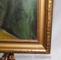 Oil Painting Jew and Rabbi Portrait Antique Yiddish Judaic Art 1930 (3 of 9)
