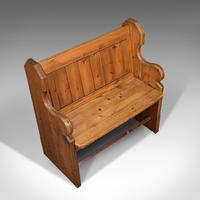 Antique Love Seat, English, Pine, Bench, Pew, Ecclesiastic Taste, Victorian (7 of 12)