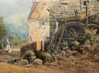 William Charles Goddard (exh.1885) Stunning Country Watermill Landscape Painting (4 of 15)