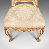 Antique Boudoir Chair, French, Giltwood, Bedroom Dressing Seat, Victorian c.1900 (9 of 12)
