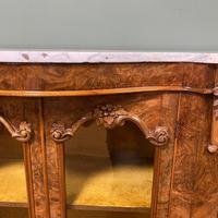 Spectacular Burr Walnut Serpentine Antique Credenza (4 of 7)