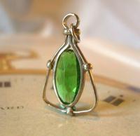 Antique Pocket Watch Chain Fob 1900 Art Nouveau Silver Chrome & Vivid Green Glass Fob (2 of 8)