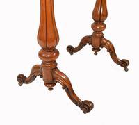 Victorian Writing Table Walnut Tulip Leg Desk c.1880 (5 of 10)