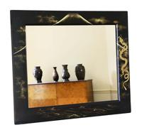 Pair of Black Lacquer Japanese Decorated Wall Mirrors c.1910 (2 of 14)