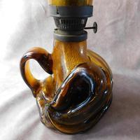 Art Nouveau, Amber Glass, Chamber Lamp (3 of 21)