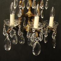 French Pair of Bronze & Crystal 5 Arm Antique Wall Lights (5 of 10)