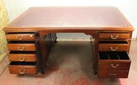 1920s Mahogany Partners Pedestal Desk with Red Top (2 of 4)