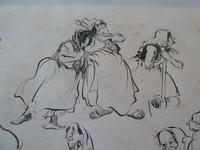 """William Papas """" Inn Keeper  """" Ink Drawing 1970's - 2 of 6 Listed (5 of 7)"""