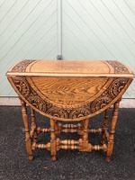 Antique Carved Oak Drop Leaf Table (2 of 7)