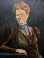Stylish Mid 20th Century Vintage Portrait Oil Painting of a Trendy Seated Lady (9 of 11)