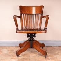 Good Quality Oak Revolving Office Desk Chair (3 of 14)