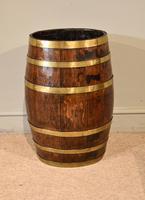 19th Century Oak & Brass Barrel / Stick Umbrella Stand (2 of 6)