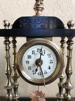 Rare Antique French Small Portico Alarm Clock (6 of 7)