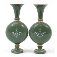 Pair of 19th Century pate sur pate Green Jewelled Glass Vases (4 of 4)