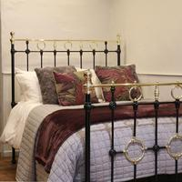 Black Victorian Brass & Iron Bedstead with Brass Circles (2 of 11)