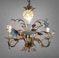 Pair of Vintage French 3 Arm Gilt Toleware Ceiling Light Chandeliers (4 of 10)