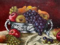 Fabulous 1960 Vintage Antique Still Life Of Fruit Study Oil On Canvas Painting (8 of 12)