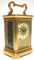 Good Antique French 8-day Carriage Clock Bevelled Case with Embossed Decorated Masked Dial (2 of 12)