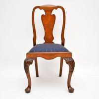 Set of 10 Antique Queen Anne Style Burr Walnut Dining Chairs (5 of 13)