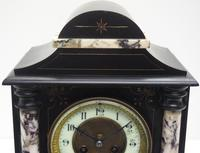 Very Fine French Slate & Marble Mantel Clock 8 Day Striking Mantle Clock (6 of 10)