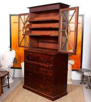 Tall Antique Secretaire Bureau Bookcase Astragal Glazed Mahogany Library Cabinet (4 of 13)