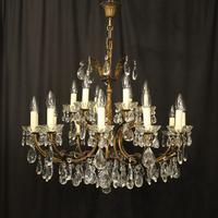 Italian 18 Light Gilded Brass Antique Chandelier (9 of 10)