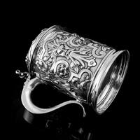 Antique Solid Sterling Silver Large Tankard with Royal Marines Officer Interest - Goldsmiths & Silversmiths Co 1900 (18 of 28)
