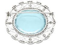 43.84 ct Aquamarine, 0.85 ct Diamond and Pearl, Platinum Brooch - Antique Circa 1910 (6 of 9)