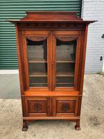 Antique Arts & Crafts Carved Walnut Bookcase (2 of 13)