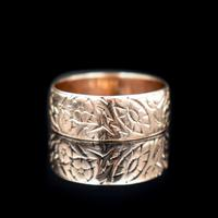 Antique Fancy Engraved Floral Patterned 9ct 9K Gold Stacking Band Ring (6 of 9)
