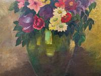 Large 19th Century French Farmhouse Impressionist Still Life Floral Oil Painting Signed (7 of 12)