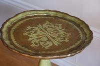 Green & Giltwood Florentine pedestal table with pie crust edged top (2 of 10)
