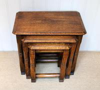Solid Oak Nest of Three Tables (3 of 9)