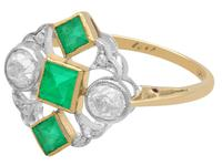 0.55 ct Emerald and 0.54 ct Diamond, 18 ct Yellow Gold Dress Ring - Art Deco - Antique Circa 1920 (8 of 9)