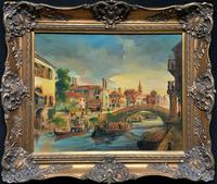 Wonderful 20th Century Bustling Canal Cityscape Continental Oil on Canvas Painting