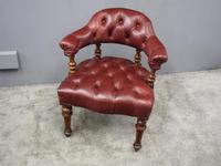 Victorian Walnut and Leather Office Chair (10 of 10)